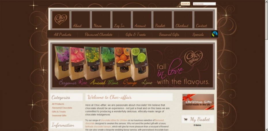 Website design for chocolate manufacturers