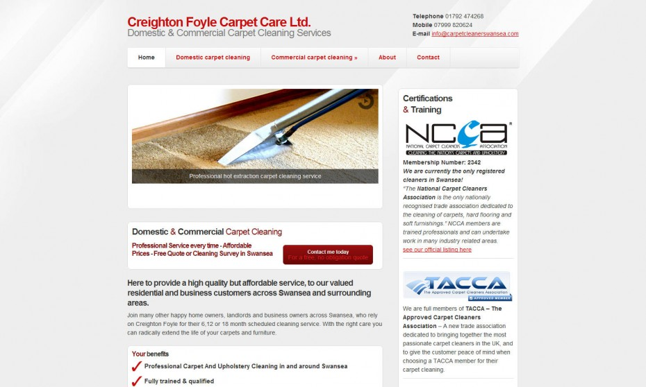 Carpet cleaning webdesign Swansea Wales