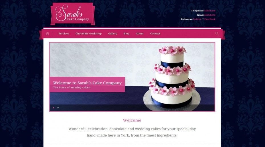 food manufacturer webdesign - Web design for wedding cake manufacturer