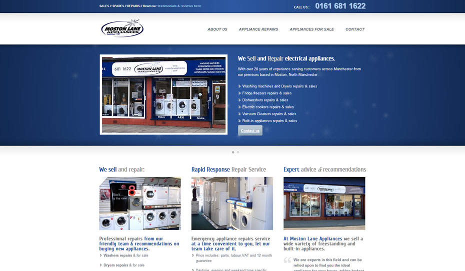 webdesign appliance repairs company manchester - Webdesign for appliance repairs company