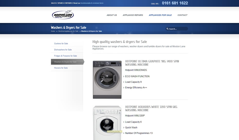 webdesign appliance repairs company manchester2 - Webdesign for appliance repairs company