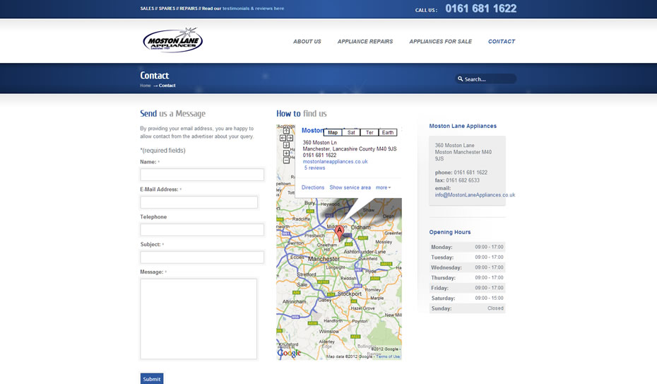 webdesign appliance repairs company manchester3 - Webdesign for appliance repairs company
