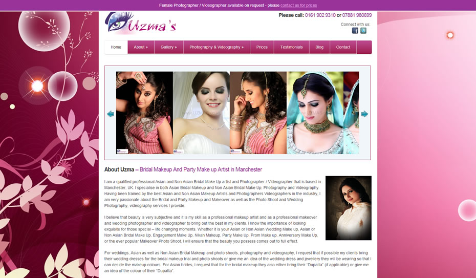 webdesign bridal makeup artists1 - Webdesign for bridal artist and photography company