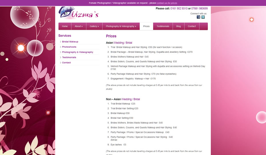 webdesign bridal makeup artists3 - Webdesign for bridal artist and photography company