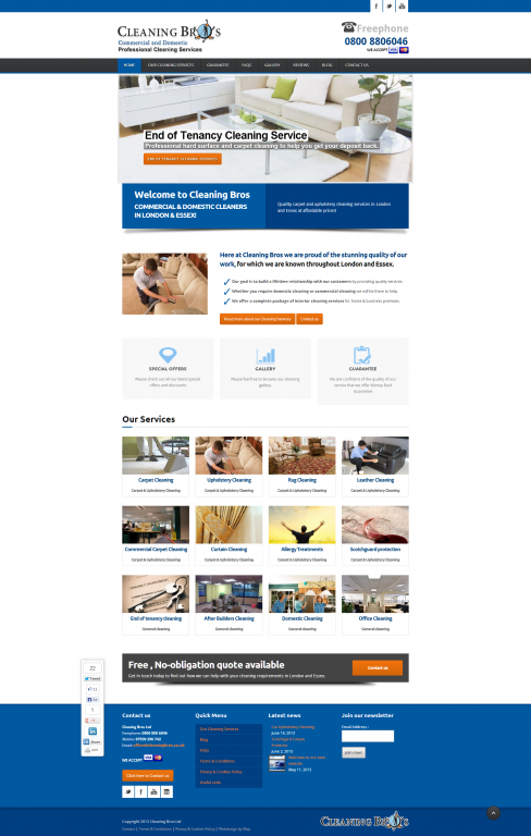 cleaningbros FULLhome - Webdesign for commercial cleaning service provider