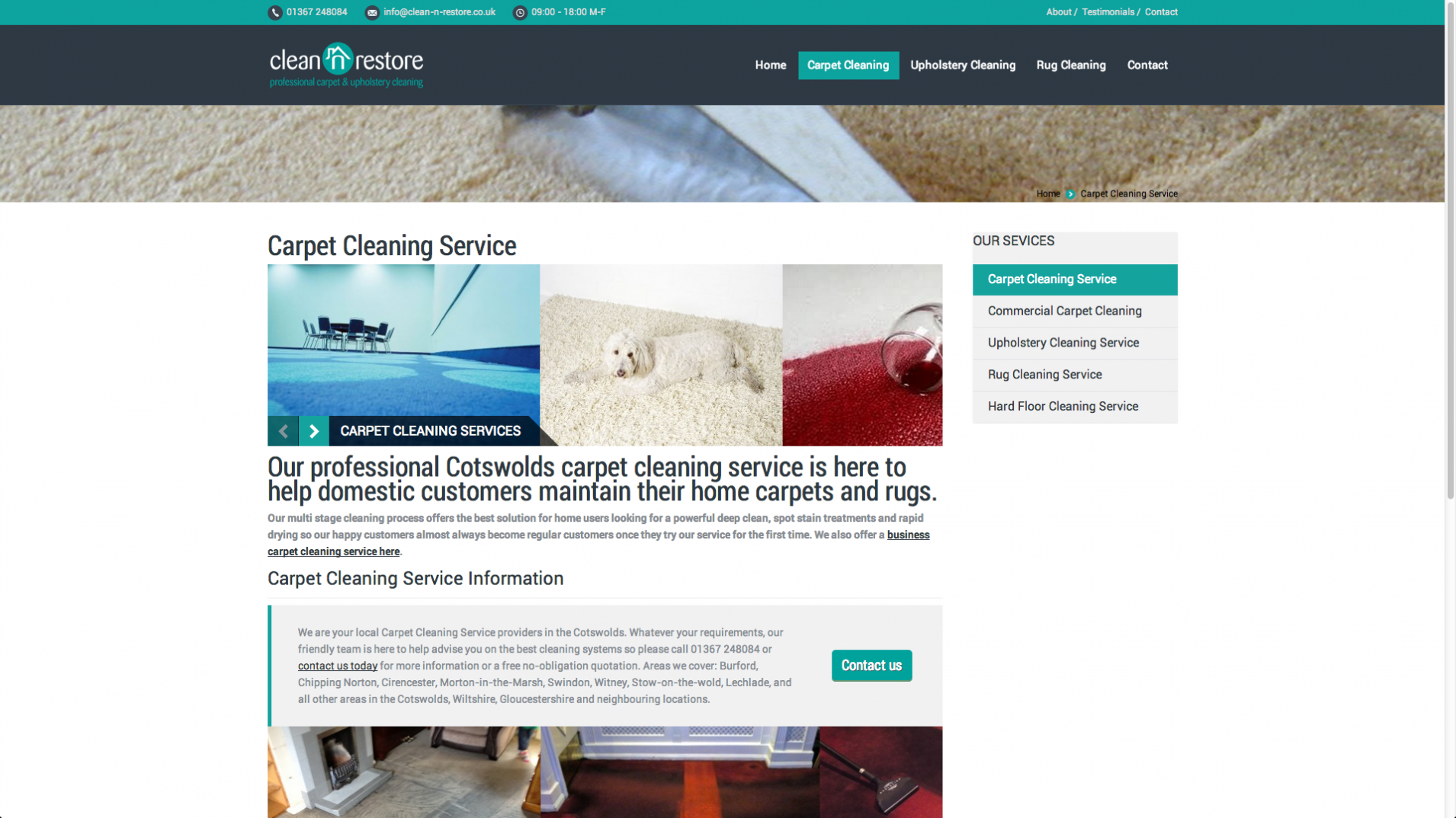 Screen Shot 2013 12 23 at 16.26.49 - Website design for Cotswolds based cleaning company