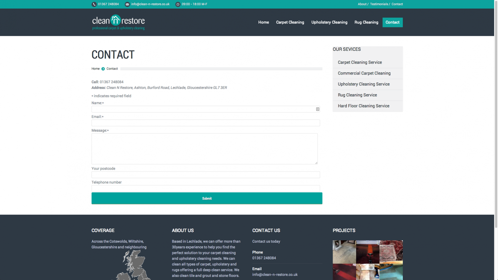 Screen Shot 2013 12 23 at 16.27.11 - Website design for Cotswolds based cleaning company