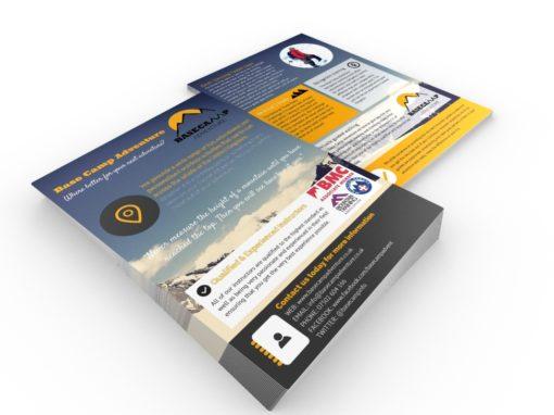 Flyer & brochure design for outdoor adventure company