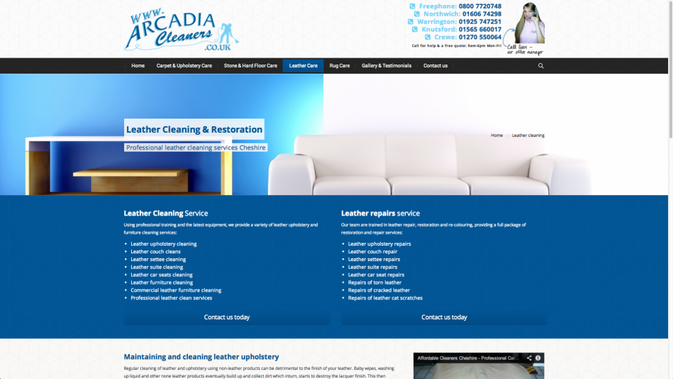 Website design for Cheshire based carpet, upholstery and floor cleaning company