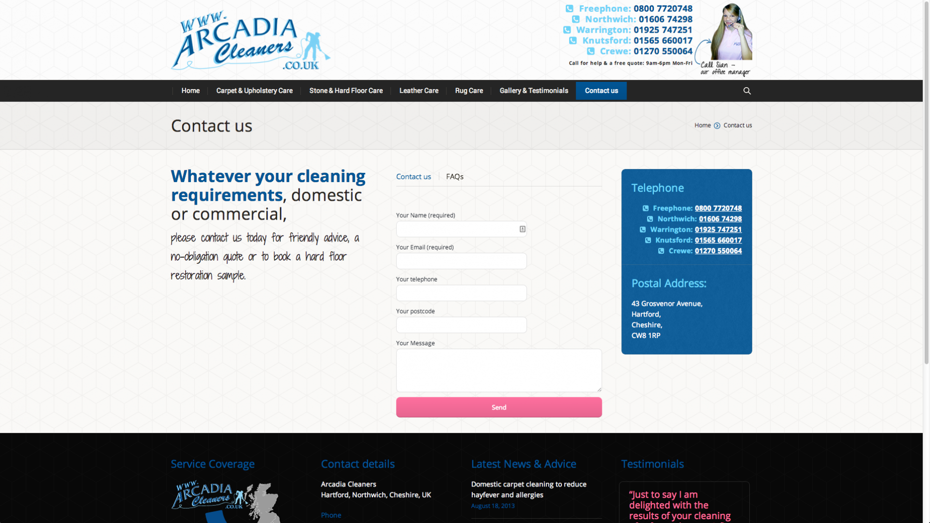 Screen Shot 2013 12 23 at 16.21.03 - Website design for Cheshire based carpet, upholstery and floor cleaning company