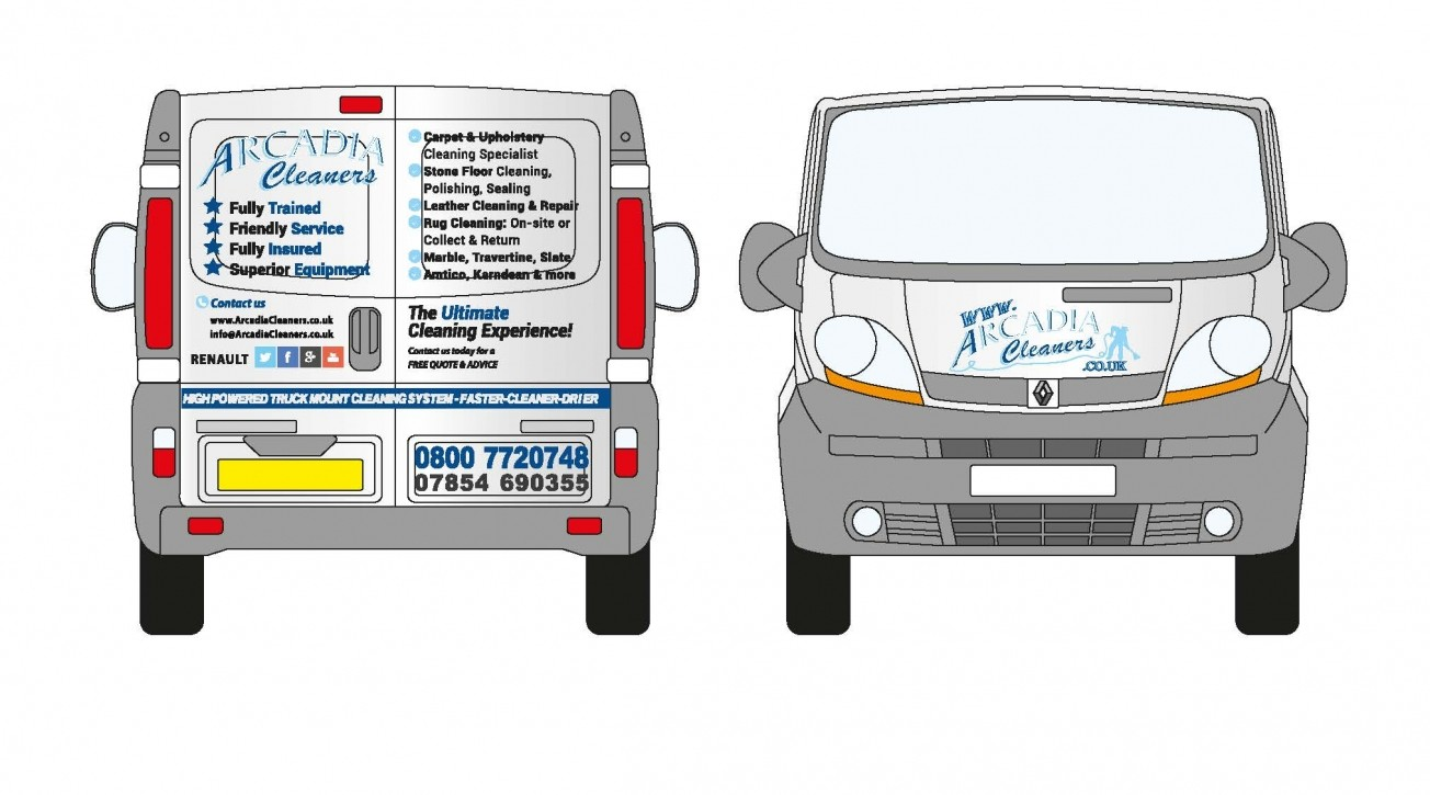 van design arcadia cleaners1foutlines copy e1430003408356 - Van wrap design for Cheshire based carpet, upholstery & floor cleaning company