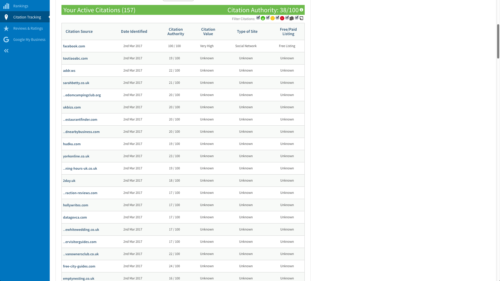 Bettys active citations - Local SEO reporting dashboard