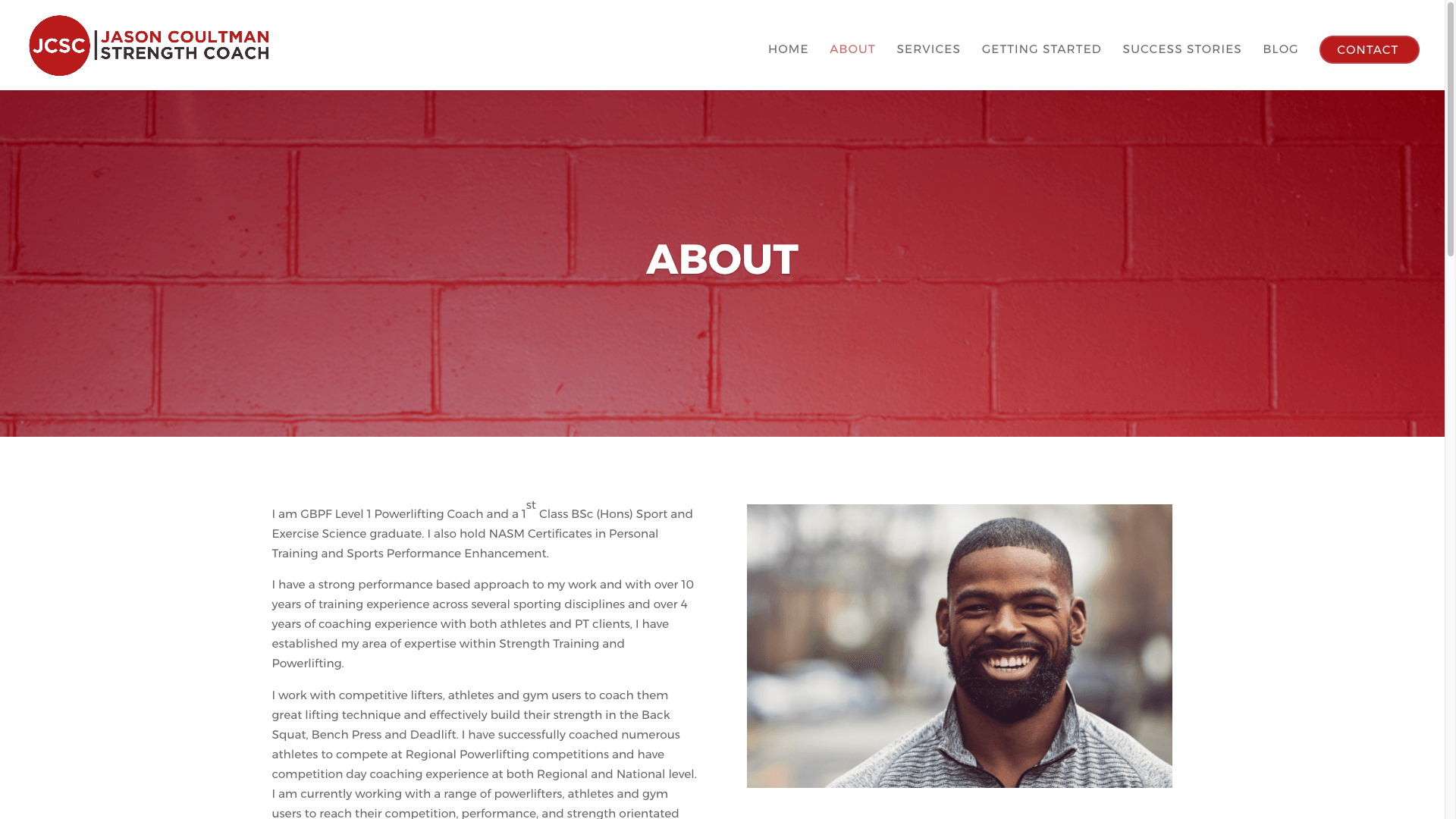 JC2 - Website design for personal trainer in London