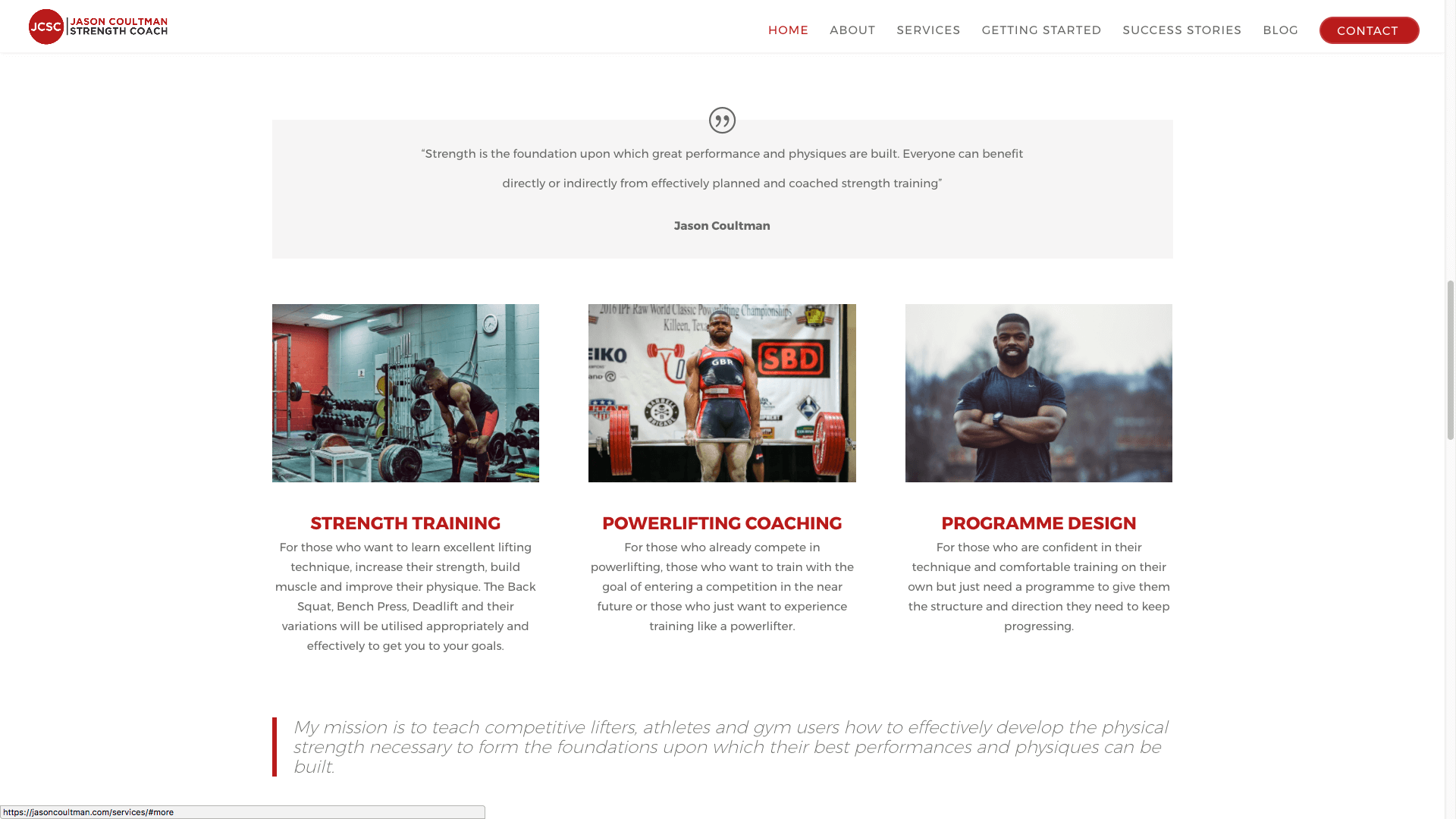 JC4 - Website design for personal trainer in London