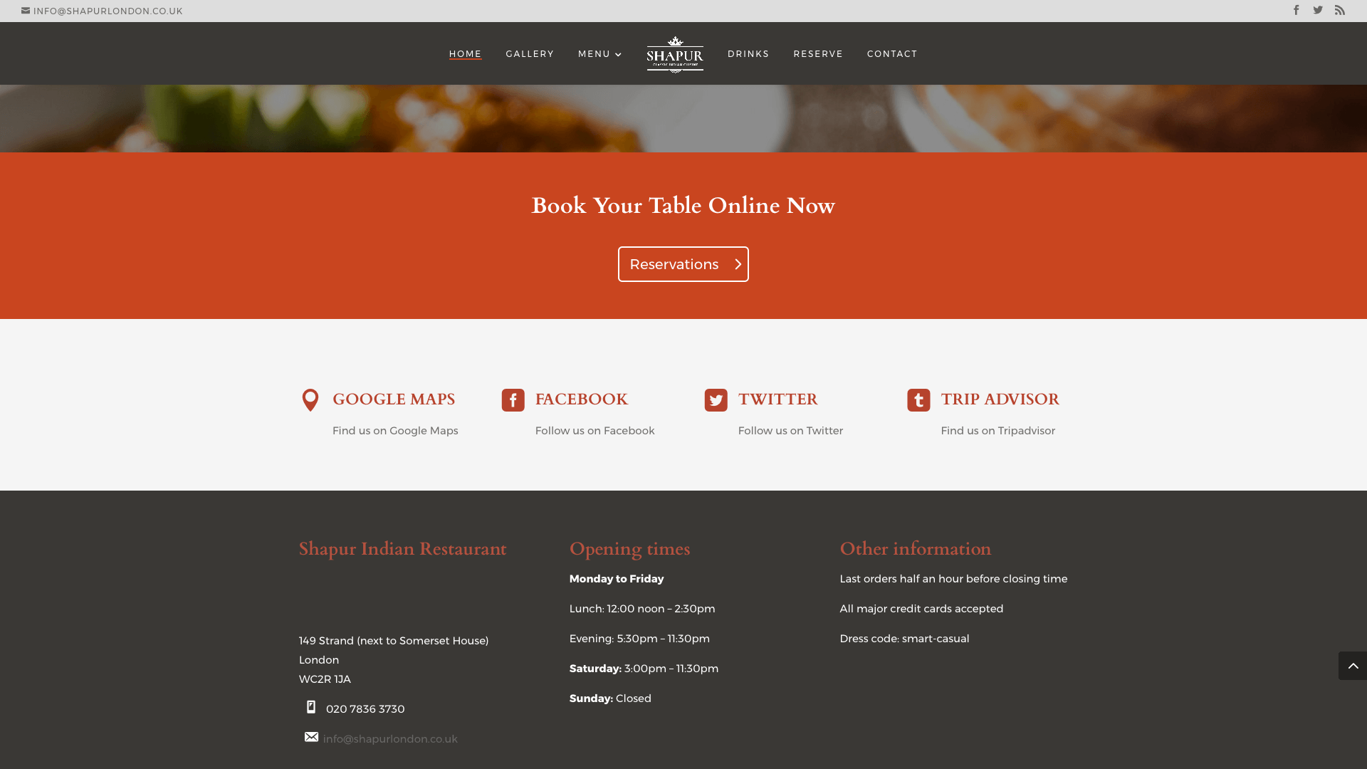 Shapur after 2 - Website design for Indian Restaurant