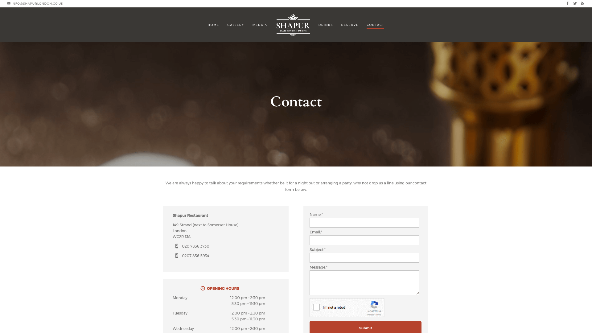 Shapur after 3 - Website design for Indian Restaurant