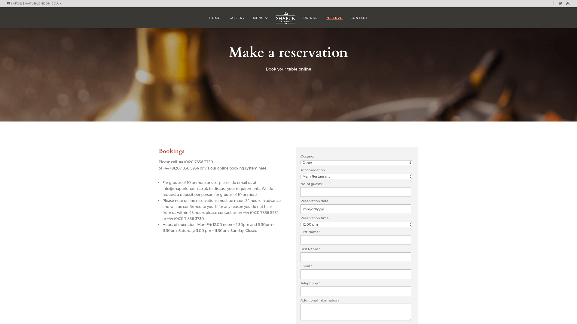 Shapur after 4 - Website design for Indian Restaurant
