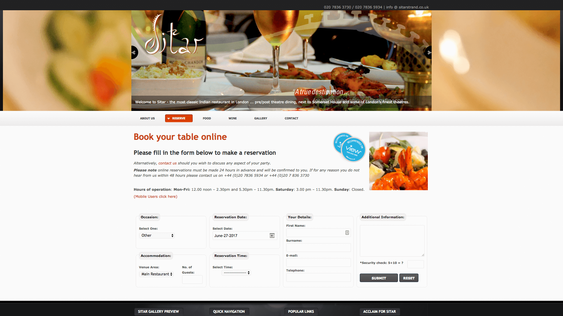 Shapur before 3 - Website design for Indian Restaurant