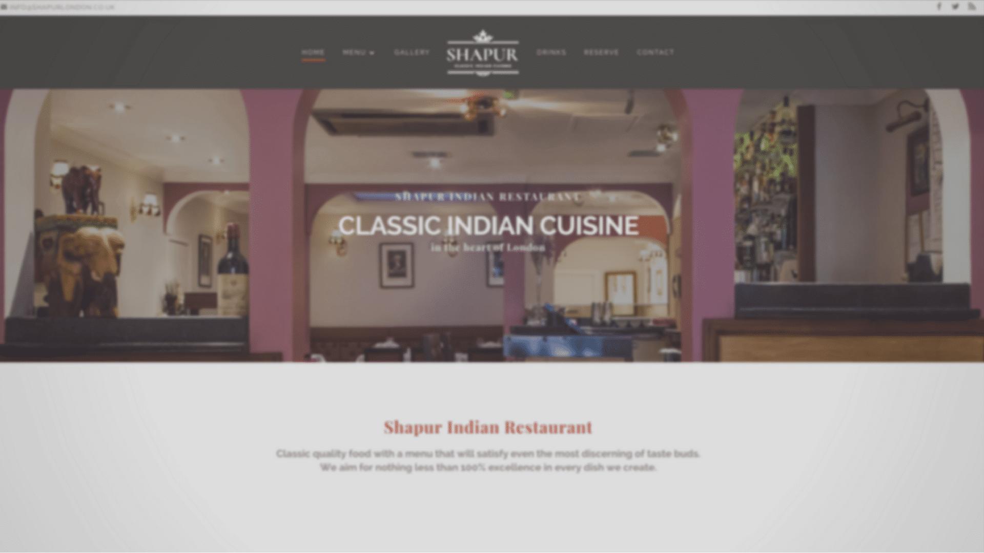 Website design for Indian Restaurant