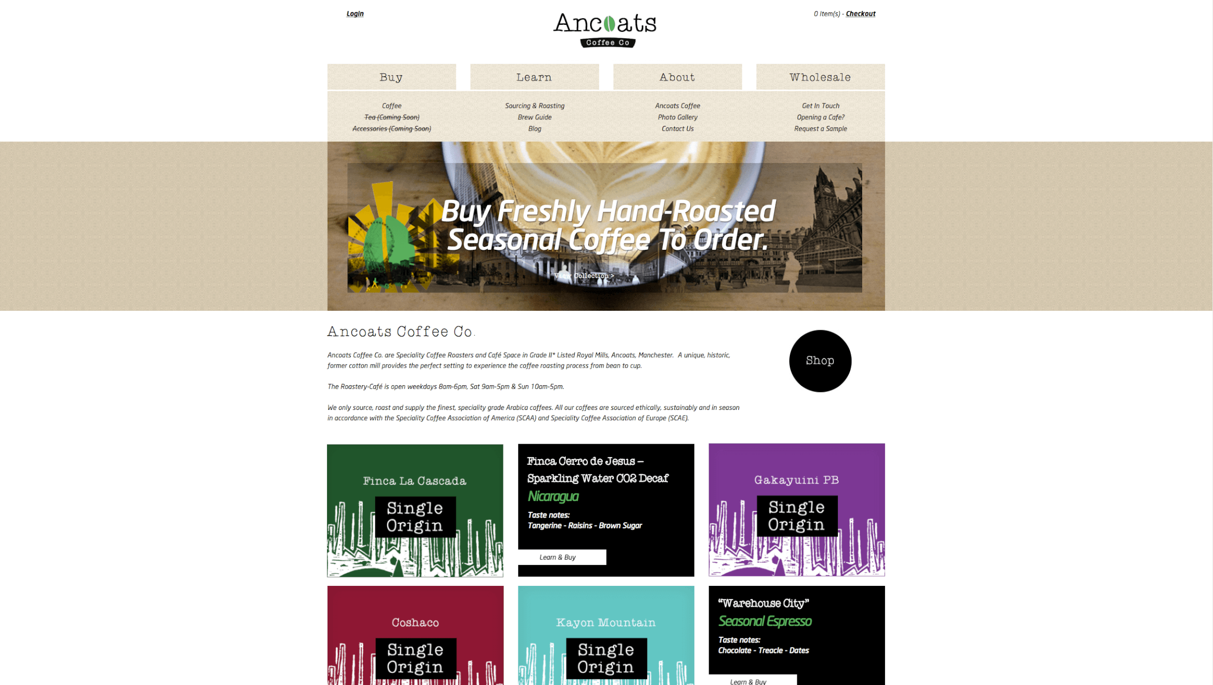 Ancoats Coffee Before - Cafe and coffee roastery website design