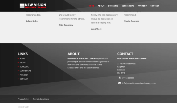 New Vision Window Cleaning Screenshot16.52 2 700x438 - Website design for window cleaning business