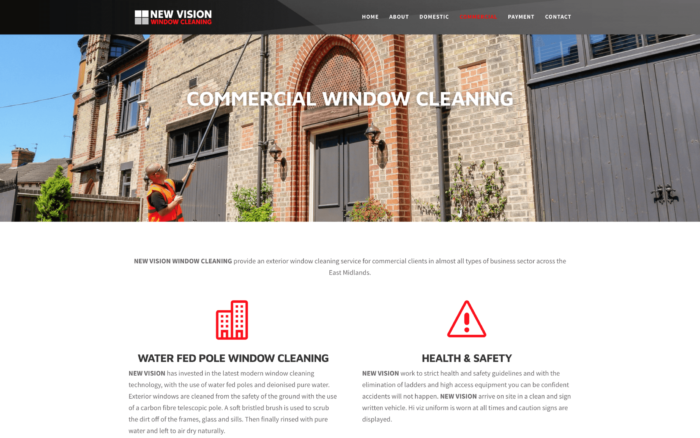 New Vision Window Cleaning Screenshotat 11.47.55 2 700x438 - Website design for window cleaning business