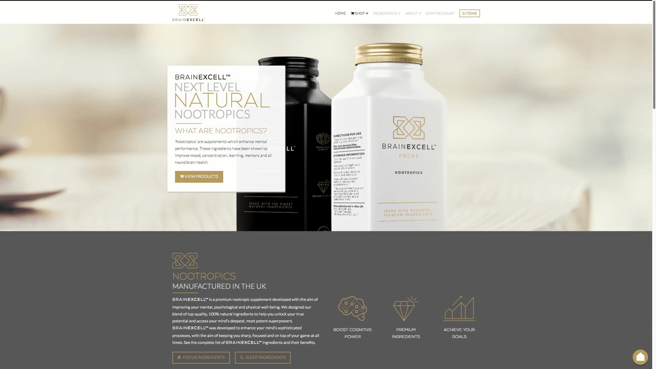 Screen Shot 2017 12 05 at 4.25.20 pm - Website design for nootropics supplement company