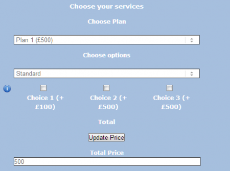 how to create a price calculator for website
