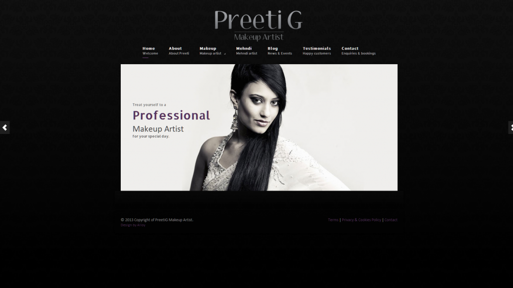 website design for bridal makeup artist company